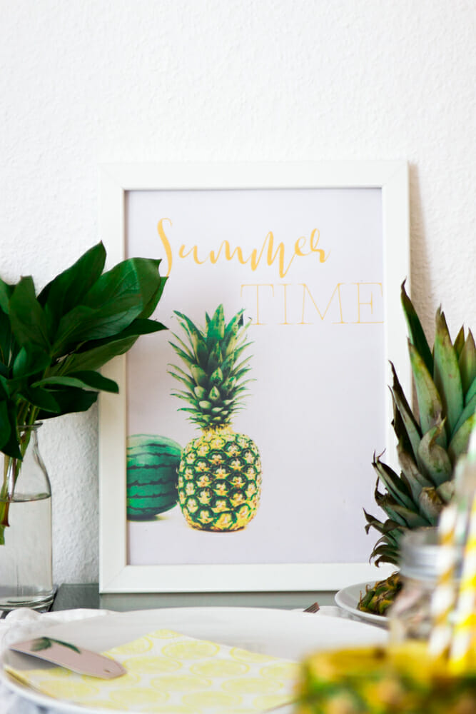 Ananas Party Dekoration Summer Time Poster Freebie Printable