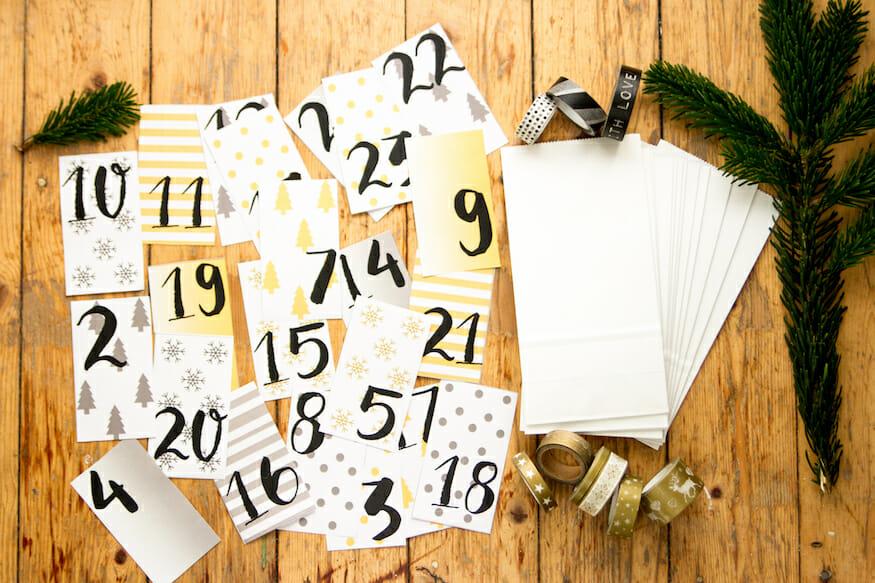 Zahlenvorlage für Adventskalender