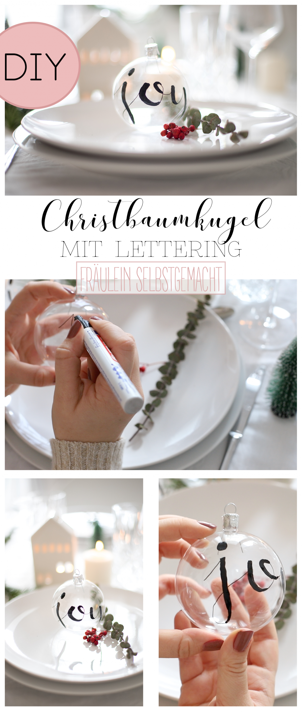 Christbaumkugel mit Lettering